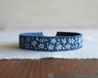 Blue Floral Bracelet - Bohemian Hand Embroidered Linen Cuff Bracelet