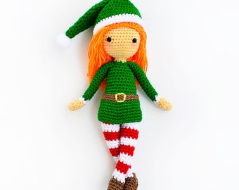 CROCHET PATTERN in English - Edna the Elf Doll - Christmas - 12 in./30 cm. tall - Amigurumi Doll Crochet Toy - Instant PDF Download