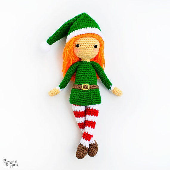 CROCHET PATTERN in English Edna the Elf Doll Christmas