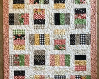 Baby Girl Quilt - Reversible Coin Crib Quilt - Handmade Baby Girl Bedding Quilt - Patchwork Quilt Toddler - Handmade Lap Quilt