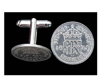 Original sixpence coins made into mens cuff links (version 1)