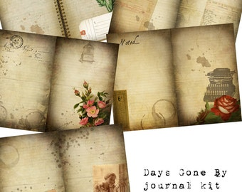 Digital Vintage Journal Page Kit - Days Gone By - Perfect for journals, cards, mixed media, scrapbooking (5 digital pages)
