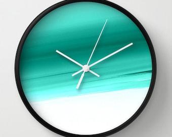 Clock, Aqua & White Clock, Aqua Clock, Mint and White Clock, Turquoise Clock, Aqua Wall Clock, Mint Clock, Aqua Home Decor, Kitchen Clock