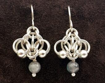 Hotaru Chainmail Earrings in Sterling Silver