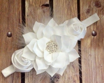White headband, feather headband, baptism headband, flower girl headband, flower girl, flower headband, floral headband, vintage headband,