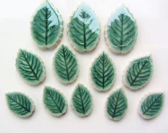 12 ceramic mosaic leaf tiles, handmade, glazed with veins 3 sizes