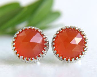 genuine carnelian 8mm faceted round sterling silver stud earrings - carnelian studs - red studs - orange studs - gemstone studs - 8mm