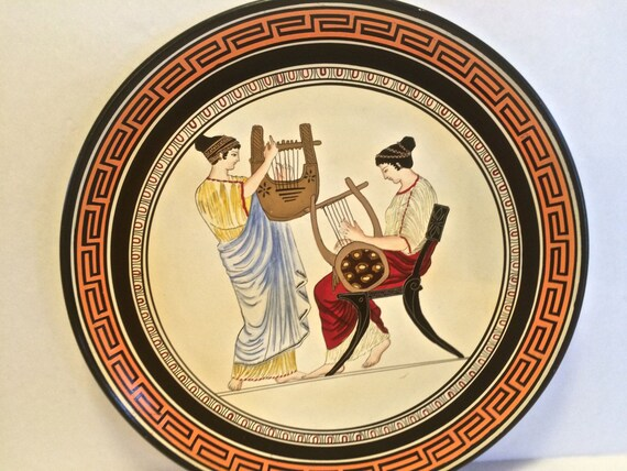 Vintage Hand Made and Painted in Greece Decorative Wall Plate