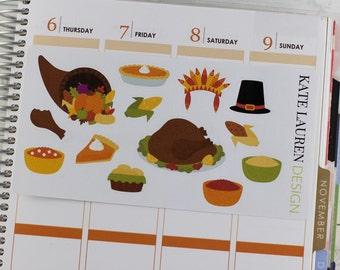 Thanksgiving Planner Stickers, Thanksgiving Dinner Stickers, Autumn Stickers, Fall Stickers, Autumn Planner Stickers
