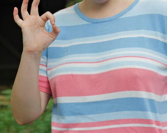 90s Pink White and Blue Striped Knitted Tshirt