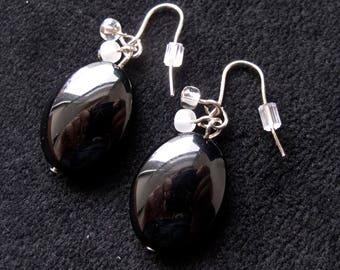 Black Oval Dangle Earrings