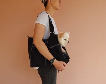 Dog carrier, Black/Grey, Water resistant nylon, women, shoulder bag, tote, dog carrier, cat carrier - LOLY