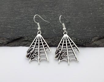 Spider Web Earrings, Halloween Earrings, Charm Earrings, Spider Jewellery, Halloween Jewellery, Halloween Jewelry, Spider Jewelry, Gothic
