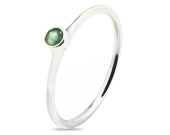Emerald Silver Stack Ring