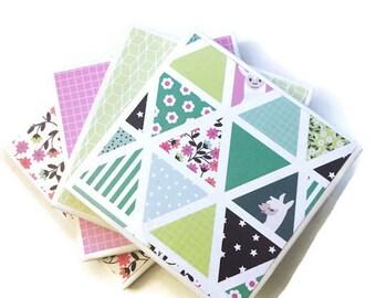 Llama Coasters, Easter Gift, Llama Love, Housewarming Gift, Colorful Coaster Set, Flowers, Small Hostess Gift, Animal, Triangles