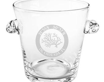 Custom Coordinates Coral Scroll Handle Ice Bucket, Latitude Longitude Glassware