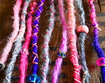 9 x groovy pastel synthetic dreads -  18