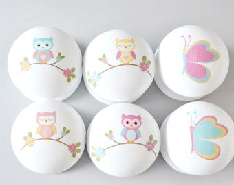 Owl and Butterfly Knobs, Owl and Butterfly Drawer Pull, Dresser Pull, Owl Knob, Owl Pull, Kids Room, Children's Room, Furniture Handle.
