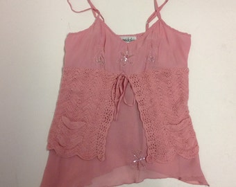 SALE Pink Beaded Quirky Layered Camisole Top