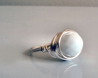 White Glass Ring - Bead Ring in Bright White Faceted Czech Glass - Wire-Wrapped in Bright Silver Wire - Simple Handmade Custom Size Ring