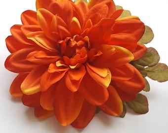 Large Orange Dahlia Hair Flower