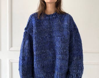 Dark blue Hand knit womens sweater Oversized chunky sweater Womens crew neck merino wool jumper Size small Womens chunky knitwear Blue