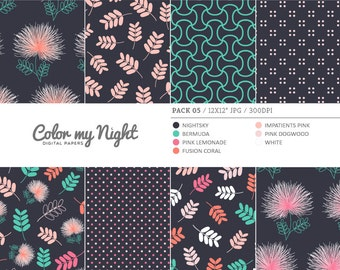 80% OFF SALE Digital Paper 'Pack05' Floral, Leaves, Dots & Geometric Scrapbook Backgrounds for Invitations, Scrapbooking, Crafts...