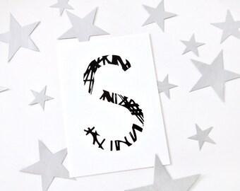 Buchstabe S, Postkarte, schwarz weiß, Illustration, Zeichnung, Geschenk, Deko, Dekoration, Grußkarte, Papier, Karte, Typographie