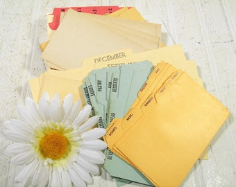 Index File Cards in Different Sizes, Colors and Conditions Collection of 71 Pieces Vintage Paper Sets of 7 Different Organization Cards