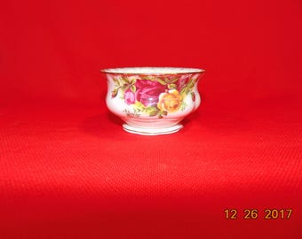 """One (1), 2 1/4"""", Bone China, Open Sugar Bowl, with Scalloped Rim, from Royal Albert, in the Old Country Roses Pattern."""