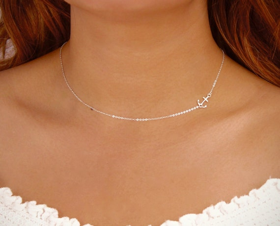 Small Sideways Anchor Necklace Delicate Anchor Choker