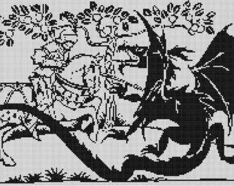 Knight and Dragon Cross Stitch Pattern