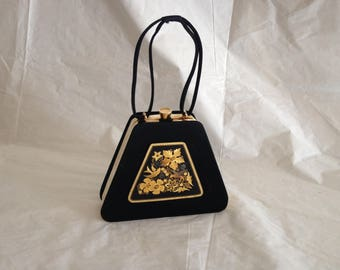 1950s JB Barcelona Black Silk Evening Bag with Gold Tone Metal Bird Inlay Panel
