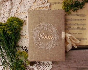 Embroidery notebook Flower wrist embroidery diary Planner Journal natural hemp canvas Herbal notes Hemp linen planner Gardener journal