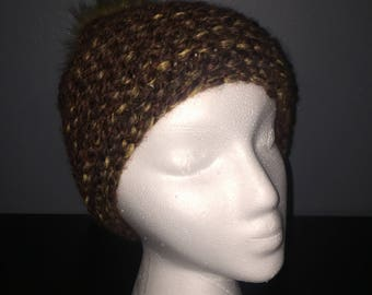 Fall-Inspired Knit Hat with Faux Fur Pom