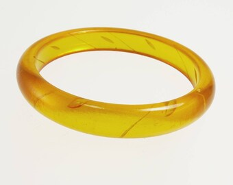 Apple Juice Bakelite Bangle Bracelet Reverse Carved