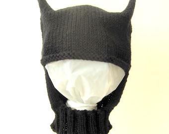 Knit Baby / Toddler Hat / Bonnet Helmet - Batman Inspired Hat