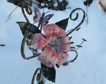 Iron lily, iron flower, hand forged lily, hand forged flower, flower, lily, rose,iron rose,iron gift for her,iron sculpture,anniversary gift