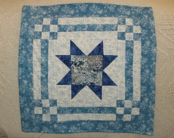Blue and White Snowflakes Quilted Tabletopper Eight point Navy Star