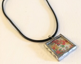 Flower Garden, Stained Glass Pendant, Ephemera, statement necklace, recycled glass jewelry, recycled jewelry, ooak, unique gifts, kimsjoy