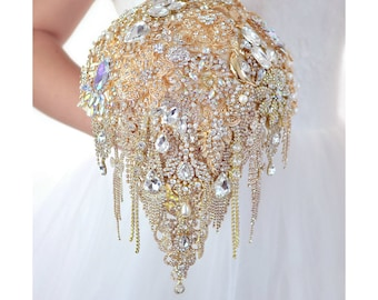 Gold Bouquet Wedding Brooch Bouquet Bridal Bouquet Wedding Dress Unique Bouquet Chic Bling Bouquet Teardrop Jewelry Bouquet Necklace Wedding
