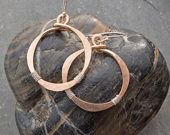 Hoop Earrings, Mixed Metal Earrings, Bronze Boho Earrings with Sterling Silver Wire Wrapped Accents, Big Hammered Earrings, Gypsy Earrings