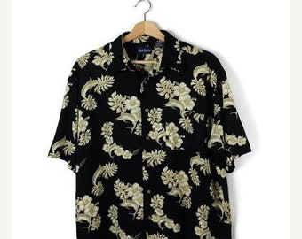 ON SALE Black x Botanical printed Men's Hawaiian Shirt from 90's