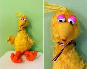 "Vintage WORKING Big Bird Talking Doll. 1980 Gabriel 22"" Stuffed Sesame Street Big Bird Doll. Rare 1980 Sesame Street Gift. Big Bird Toy"