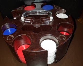 Vintage Bakelite Poker Chip Carousel with Chips Games Man Cave Lucite Gambling Cards