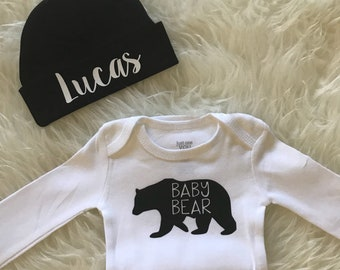 New baby outfit coming home boy baby bear newborn outfit newborn beanie with name personalized baby boy