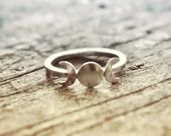 Moon phase Ring, Triple Goddess Ring, Goddess Jewelry, Wicca Ring, Wicca Jewelry, Lunar Phases, Crescent Moon Ring, Full Moon, Boho Ring