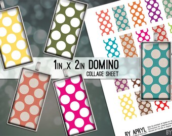 Geometric Bright and Grunge Polka Dots Polkadot 1x2 Domino Collage Sheet Digital Images for Domino Pendants Magnets Scrapbooking Journaling