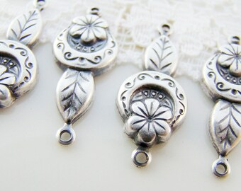 Antiqued Silver Ox Flower Art Deco Flower Leaf Connector Earring Findings - 4