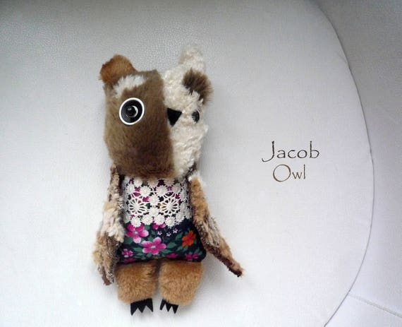 Jacob owl  , soft art textile  creature  by  Wassupbrothers, buho boho , stuffed  doll , recycled scrappy, bohemian faux fur home decor